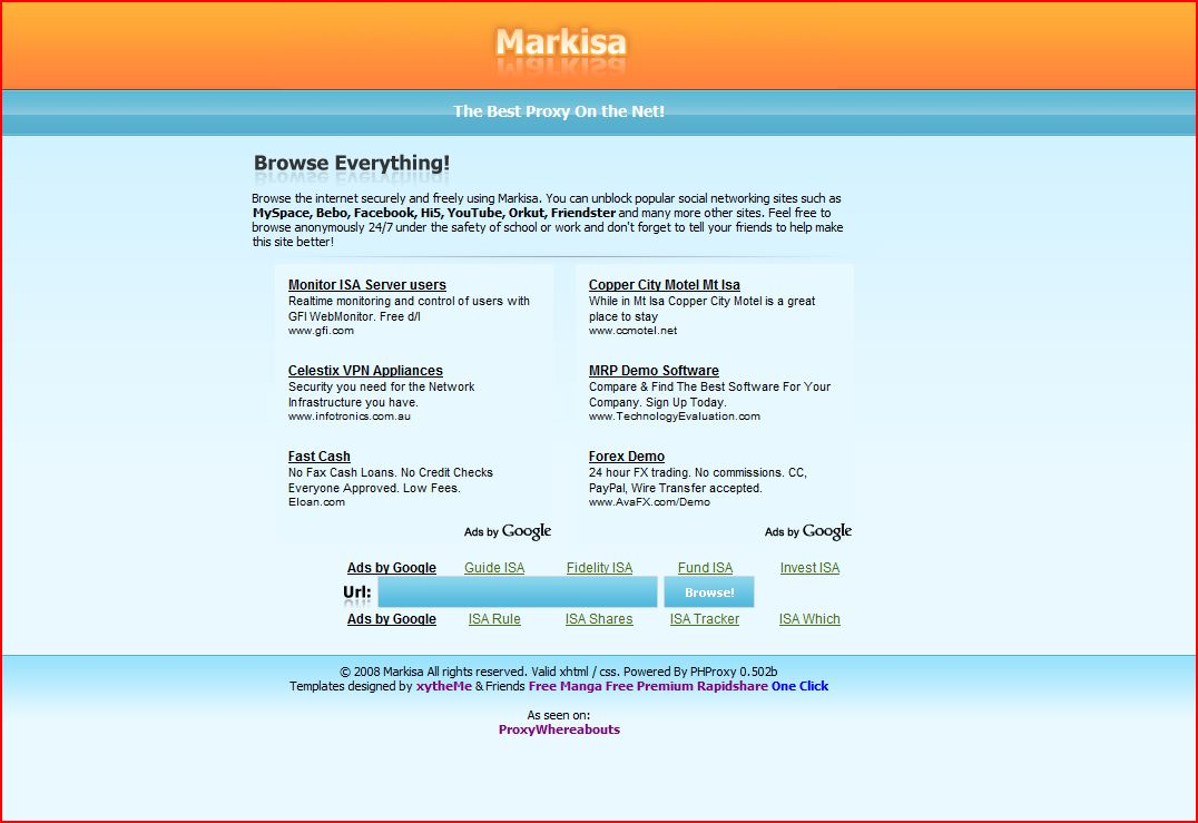 Markisa PHProxy Template