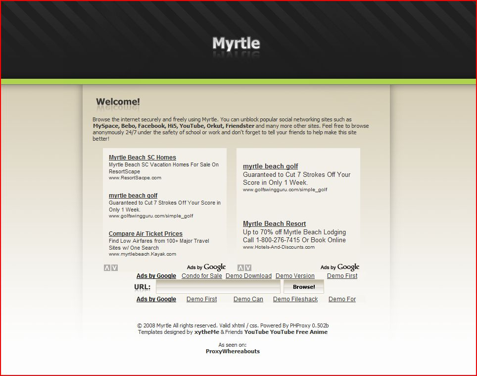 Myrtle PHProxy Template